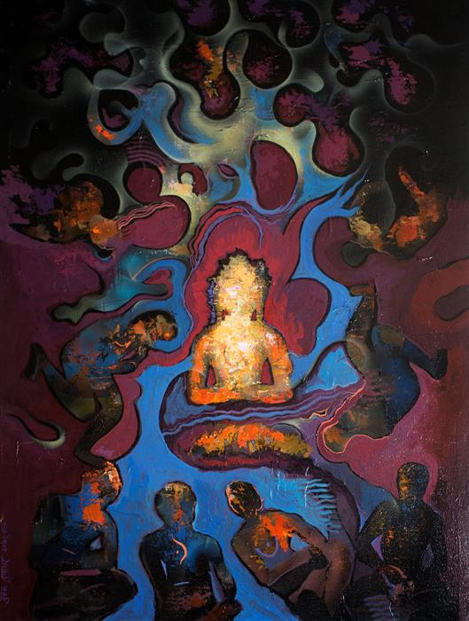 Original art for sale at UGallery.com | Glow of Enlightenment by YUVAK TULADHAR | $1,400 |  | 32' h x 24' w | ..\art\acrylic-painting-Glow-of-Enlightenment