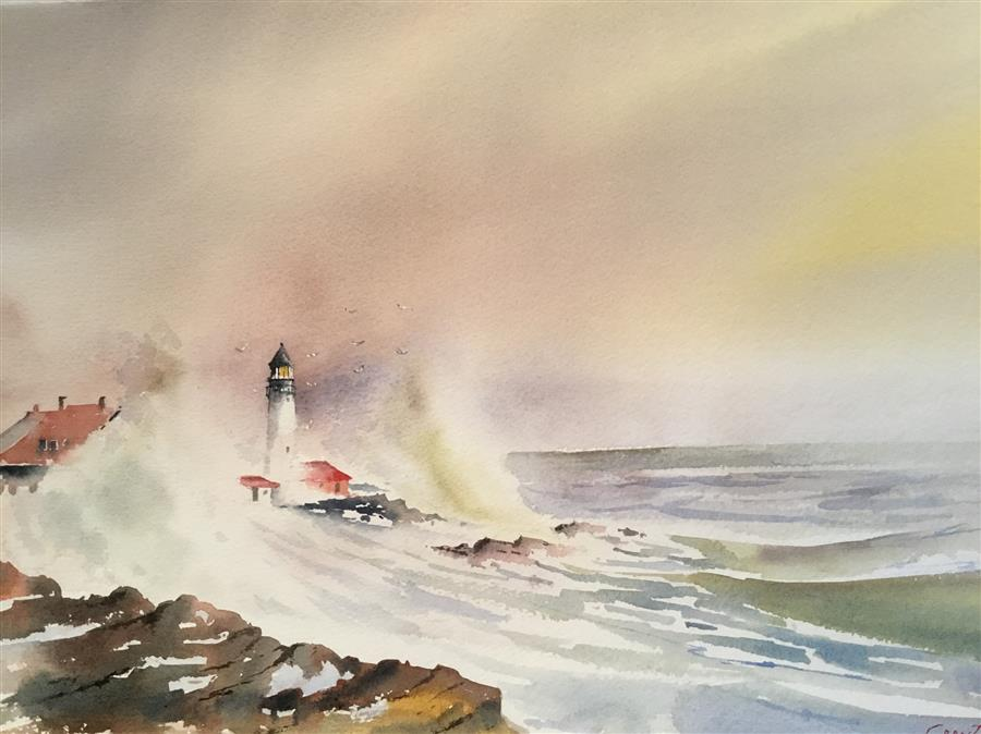 Original art for sale at UGallery.com | New Hampshire Lighthouse by GRANT WOOD | $850 | Watercolor painting | 15' h x 22' w | ..\art\watercolor-painting-New-Hampshire-Lighthouse
