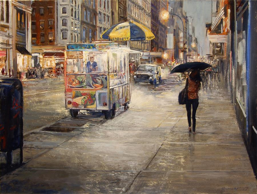 Original art for sale at UGallery.com | Mid Manhattan Drizzle by ONELIO MARRERO | $1,025 |  | 18' h x 24' w | ..\art\oil-painting-Mid-Manhattan-Drizzle