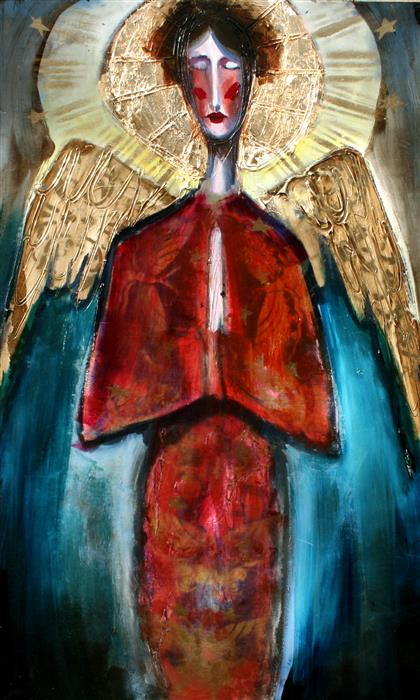 Original art for sale at UGallery.com | An Angel in Rust Surrounded by Stars by SCOTT DYKEMA | $1,550 | Mixed media artwork | 30' h x 18' w | ..\art\mixed-media-artwork-An-Angel-in-Rust-Surrounded-by-Stars