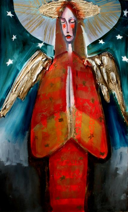 Original art for sale at UGallery.com | Angel in Red with Stars in the Sky by SCOTT DYKEMA | $1,550 | Mixed media artwork | 30' h x 18' w | ..\art\mixed-media-artwork-Angel-in-Red-with-Stars-in-the-Sky