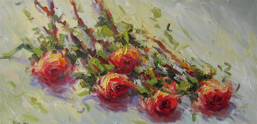 Original art for sale at UGallery.com | Cut Roses by TRICIA MAY | $625 |  | 10' h x 20' w | ..\art\oil-painting-Cut-Roses