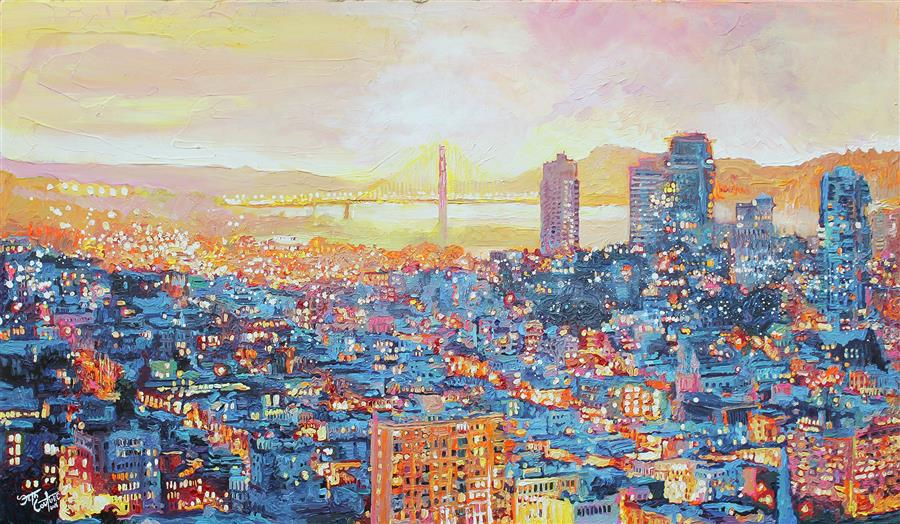 Original art for sale at UGallery.com | San Francisco, Under a Blue and Citrus Sunset by SETH COUTURE | $2,600 |  | 28' h x 48' w | ..\art\acrylic-painting-San-Francisco-Under-a-Blue-and-Citrus-Sunset