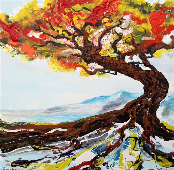 Original art for sale at UGallery.com | Arbol by PIERO MANRIQUE | $725 |  | 24' h x 24' w | ..\art\acrylic-painting-Arbol
