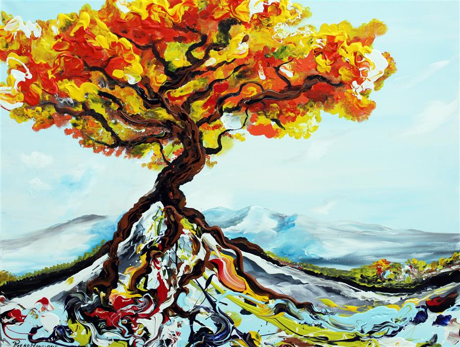 Original art for sale at UGallery.com | Growing Tree by PIERO MANRIQUE | $950 |  | 24' h x 30' w | ..\art\acrylic-painting-Growing-Tree
