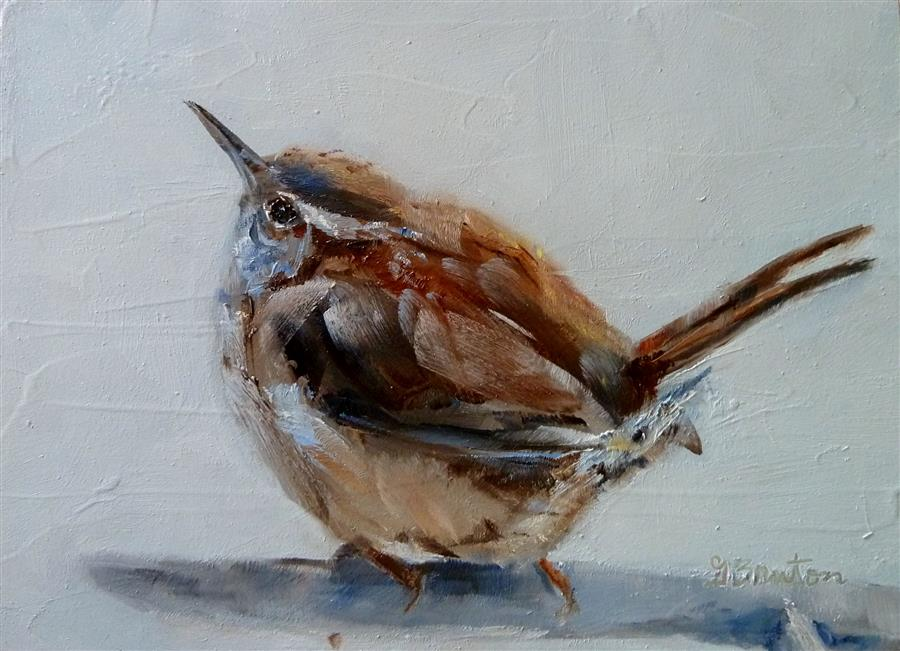 Original art for sale at UGallery.com | Winter Day Wren by GARY BRUTON | $425 |  | 5' h x 7' w | ..\art\oil-painting-Winter-Day-Wren-48767