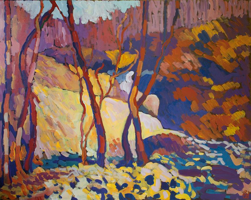 Original art for sale at UGallery.com | Near the Falls by ROBERT HOFHERR | $950 |  | 24' h x 30' w | ..\art\acrylic-painting-Near-the-Falls