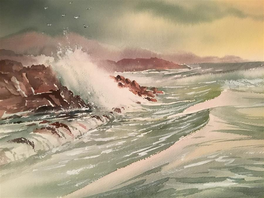 Original art for sale at UGallery.com | Angry Sea by GRANT WOOD | $450 | Watercolor painting | 15' h x 22' w | ..\art\watercolor-painting-Angry-Sea