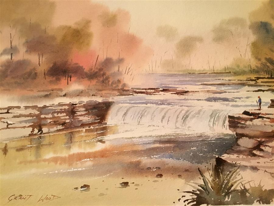 Original art for sale at UGallery.com | Cataract Falls by GRANT WOOD | $650 | Watercolor painting | 15' h x 22' w | ..\art\watercolor-painting-Cataract-Falls