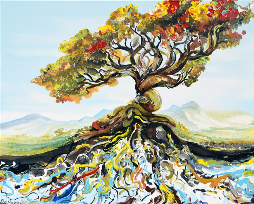 Original art for sale at UGallery.com | Root Tree by PIERO MANRIQUE | $950 |  | 24' h x 30' w | ..\art\acrylic-painting-Root-Tree