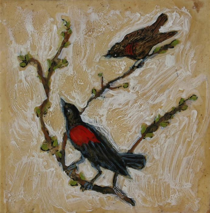 Original art for sale at UGallery.com | Red Winged Blackbirds by JAMES HARTMAN | $625 |  | 12' h x 12' w | ..\art\encaustic-artwork-Red-Winged-Blackbirds