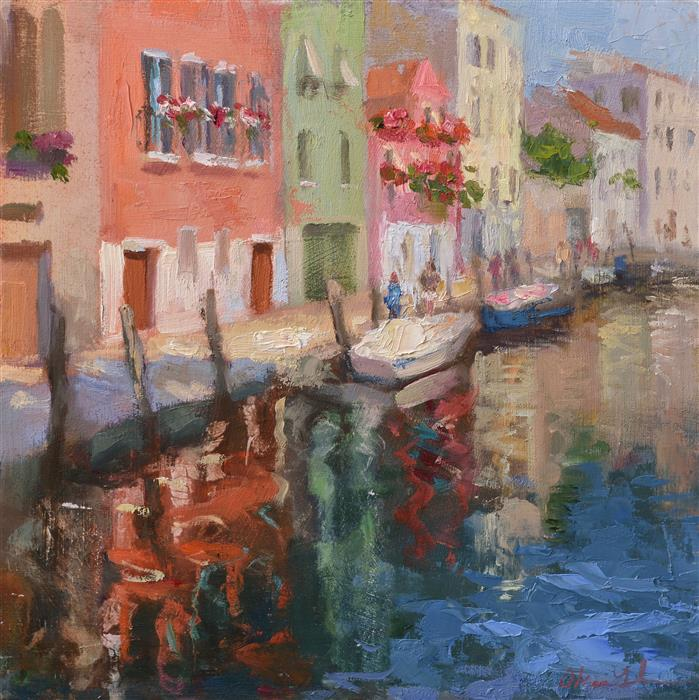 Original art for sale at UGallery.com | Reflections (Venice) by OKSANA JOHNSON | $575 |  | 10' h x 10' w | ..\art\oil-painting-Reflections-Venice