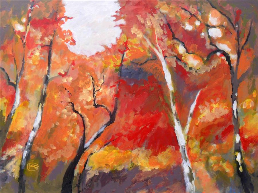 Original art for sale at UGallery.com | Autumn Woodland by KIP DECKER | $3,100 |  | 30' h x 40' w | ..\art\acrylic-painting-Autumn-Woodland