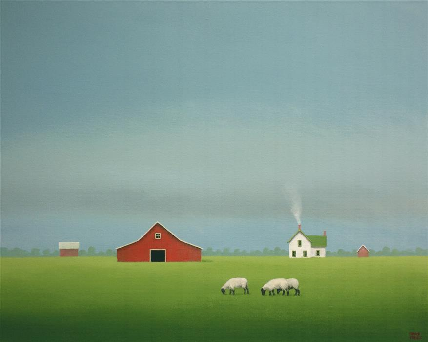 Original art for sale at UGallery.com | Quietly Grazing by SHARON  FRANCE | $1,325 |  | 16' h x 20' w | ..\art\acrylic-painting-Quietly-Grazing