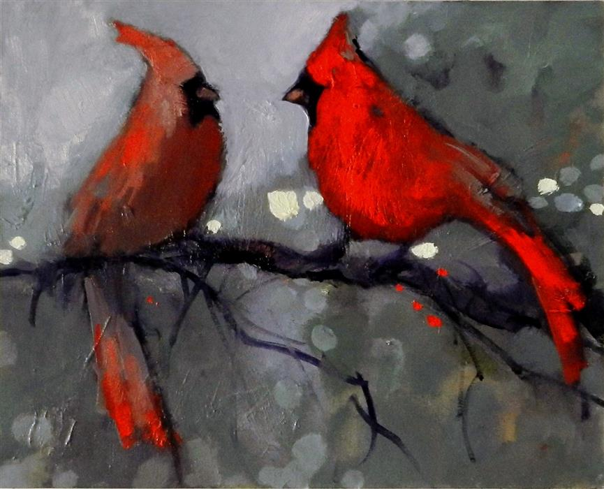 Original art for sale at UGallery.com | Bird Life by MARY PRATT | $1,025 | Oil painting | 16' h x 20' w | ..\art\oil-painting-Bird-Life