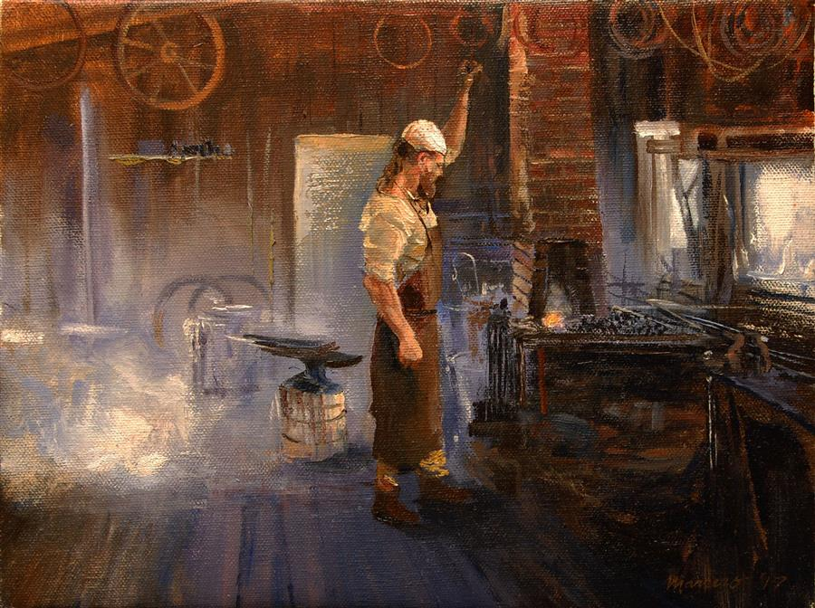 Original art for sale at UGallery.com | Reenactment Blacksmith by ONELIO MARRERO | $500 | Oil painting | 9' h x 12' w | ..\art\oil-painting-Reenactment-Blacksmith