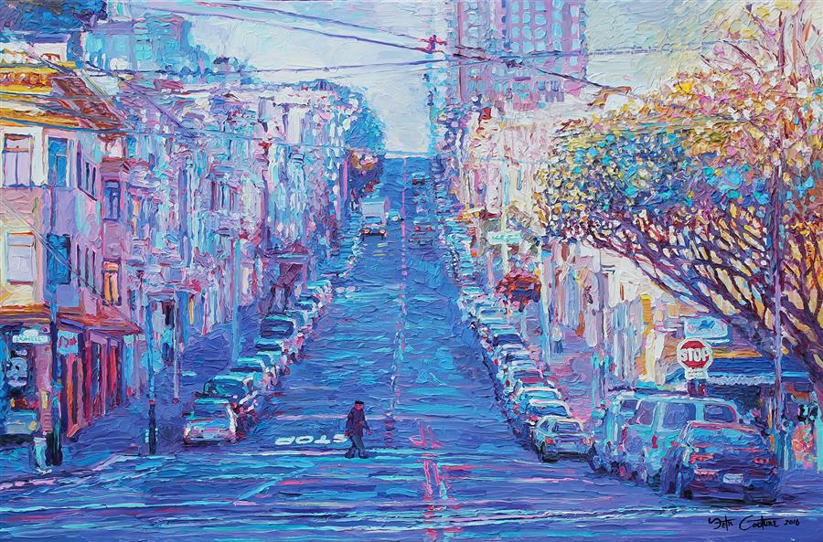 Original art for sale at UGallery.com | Crossing Union and Powell for Sushi, San Francisco by SETH COUTURE | $1,600 |  | 24' h x 36' w | ..\art\acrylic-painting-Crossing-Union-and-Powell-for-Sushi-San-Francisco