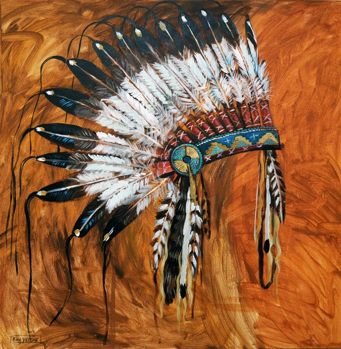 Original art for sale at UGallery.com | Headdress by KIRA YUSTAK | $1,850 |  | 36' h x 36' w | ..\art\acrylic-painting-Headdress