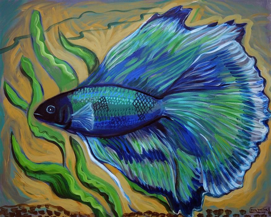 Original art for sale at UGallery.com | Butterfly Tail Betta by KIRA YUSTAK | $825 |  | 24' h x 30' w | ..\art\acrylic-painting-Butterfly-Tail-Betta
