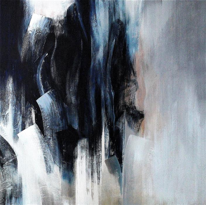 Original art for sale at UGallery.com | Blue Senses IX by Naoko Paluszak | $3,400 | oil painting | 48' h x 48' w | ..\art\oil-painting-Blue-Senses-IX