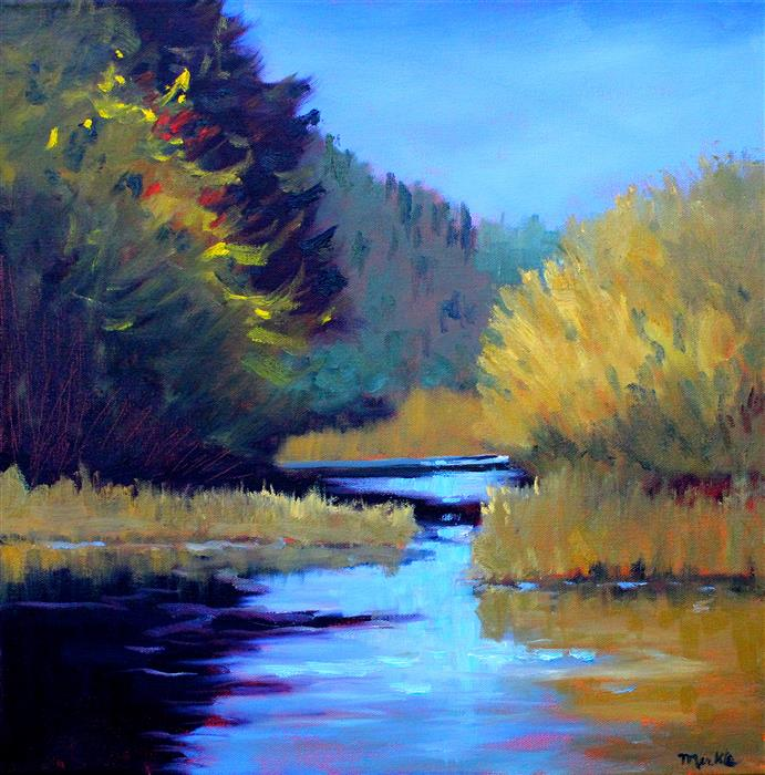 Original art for sale at UGallery.com | On the River by NANCY MERKLE | $700 |  | 18' h x 18' w | ..\art\oil-painting-On-the-River