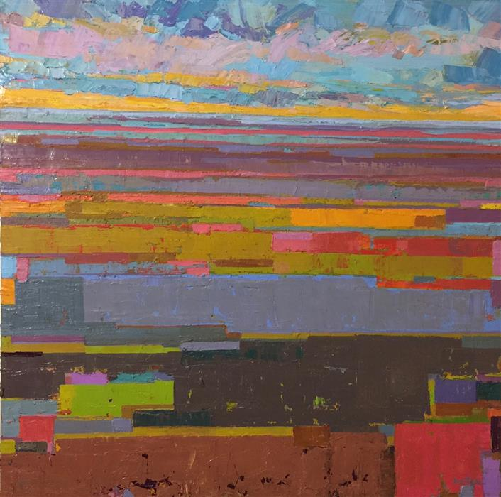 Original art for sale at UGallery.com | The Claret Fields by SRINIVAS KATHOJU | $1,150 |  | 30' h x 30' w | ..\art\oil-painting-The-Claret-Fields