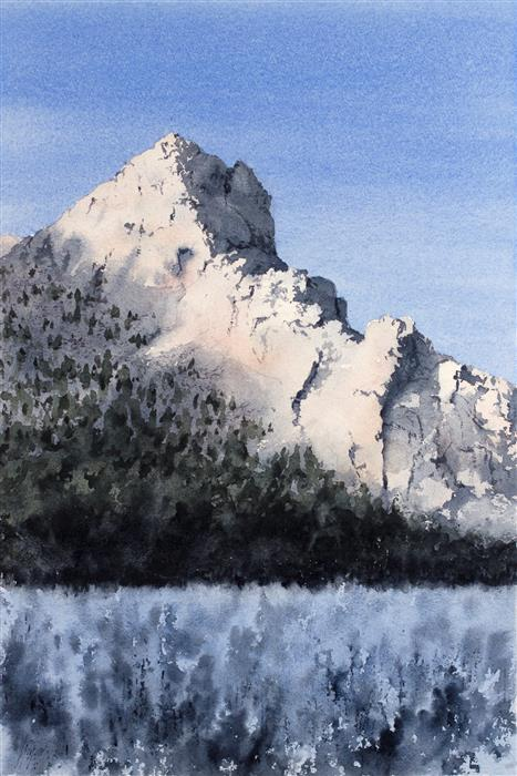 Original art for sale at UGallery.com | Final Light on the Mountain by JILL POYERD | $1,300 |  | 20' h x 13' w | ..\art\watercolor-painting-Final-Light-on-the-Mountain