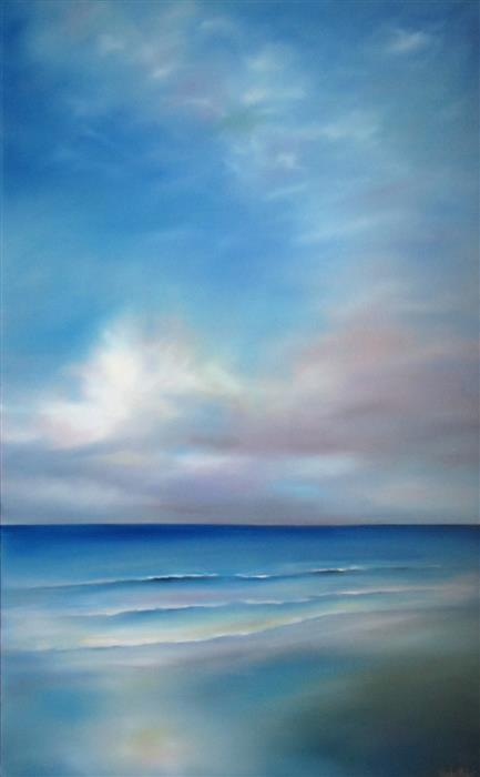 Original art for sale at UGallery.com | Morning Beach by NANCY HUGHES MILLER | $2,250 |  | 48' h x 30' w | ..\art\oil-painting-Morning-Beach