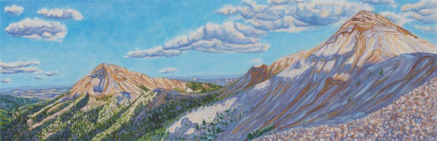 Original art for sale at UGallery.com | Mountains and Skyshadows by Crystal DiPietro | $5,275 | oil painting | 20' h x 60' w | ..\art\oil-painting-Mountains-and-Skyshadows