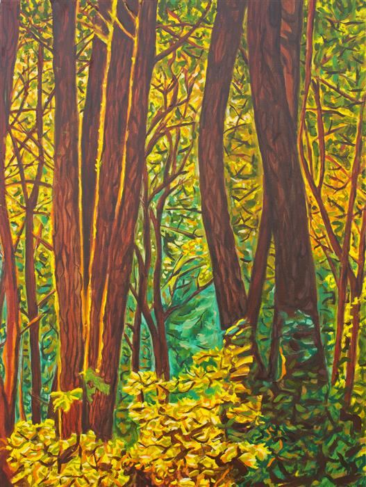 Original art for sale at UGallery.com | Sunset in the Woods by CRYSTAL DIPIETRO | $1,125 | Oil painting | 24' h x 18' w | ..\art\oil-painting-Sunset-in-the-Woods