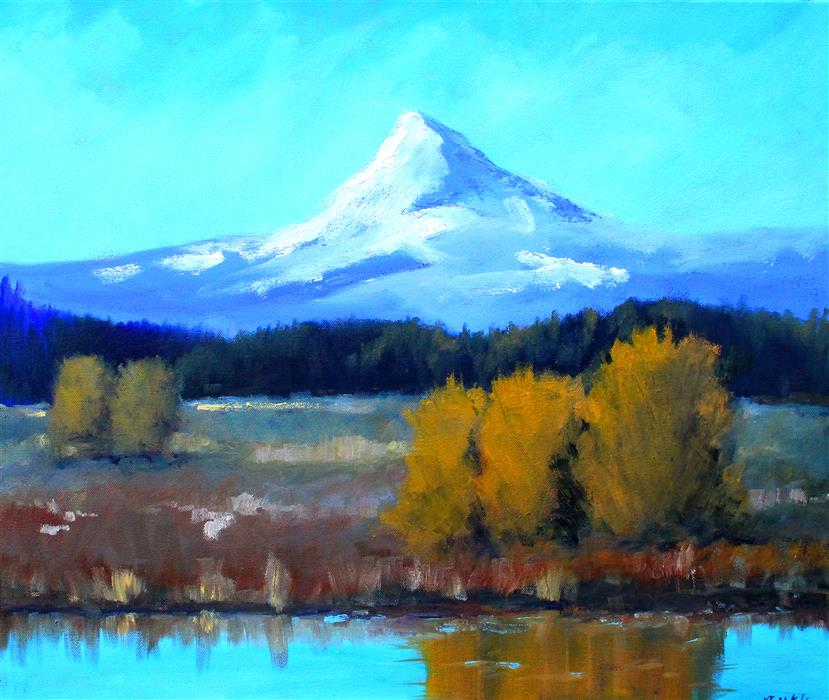 Original art for sale at UGallery.com | Mount Hood Vista by NANCY MERKLE | $1,000 |  | 20' h x 24' w | ..\art\oil-painting-Mount-Hood-Vista