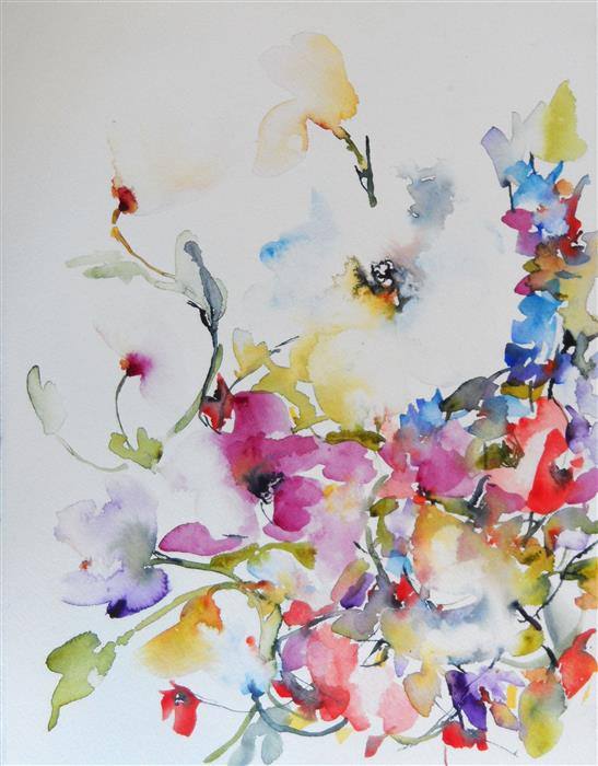 Original art for sale at UGallery.com | Spring Blooms II by KARIN JOHANNESSON | $375 |  | 15' h x 11' w | ..\art\watercolor-painting-Spring-Blooms-II