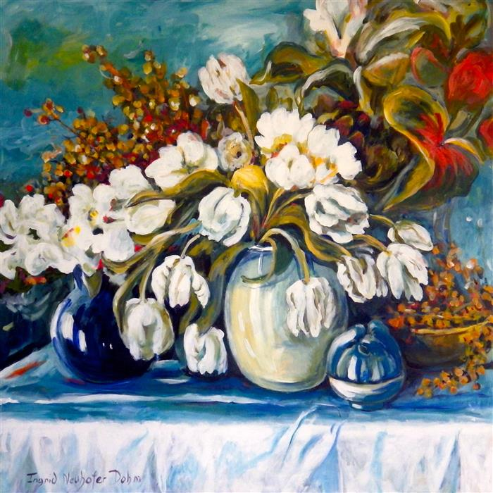 Original art for sale at UGallery.com | White Tulips by INGRID DOHM | $3,050 | Acrylic painting | 36' h x 36' w | ..\art\acrylic-painting-White-Tulips