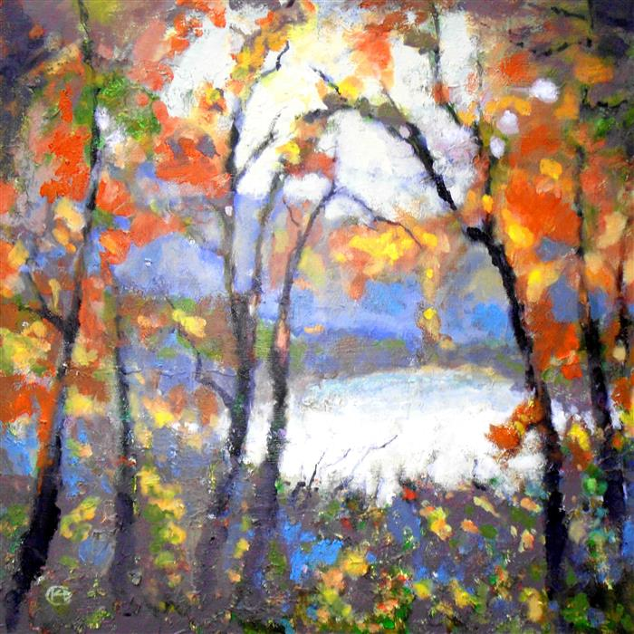 Original art for sale at UGallery.com | Through Autumn Trees by KIP DECKER | $3,150 |  | 36' h x 36' w | ..\art\acrylic-painting-Through-Autumn-Trees