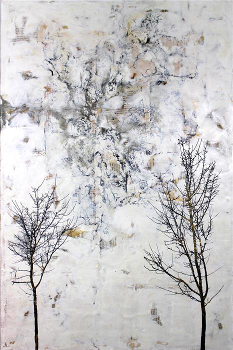 Original art for sale at UGallery.com | The Space Between by SHANNON AMIDON | $2,000 |  | 36' h x 24' w | ..\art\encaustic-artwork-The-Space-Between-49251