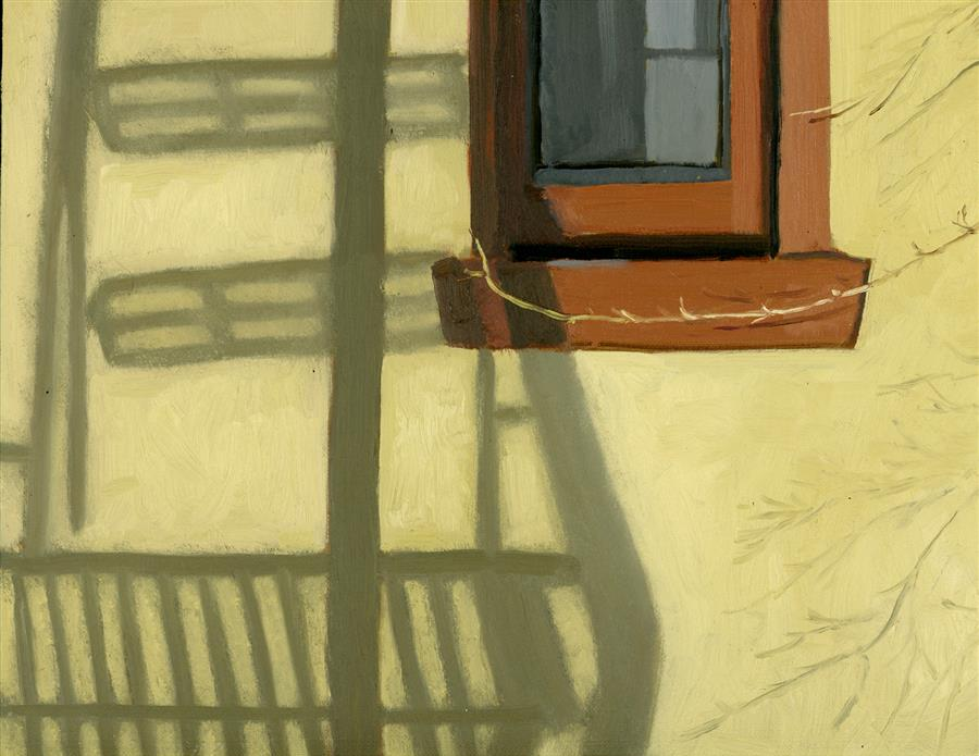 Original art for sale at UGallery.com | Fire Escape Shadow by NANCY HERMAN | $575 |  | 9' h x 12' w | ..\art\oil-painting-Fire-Escape-Shadow