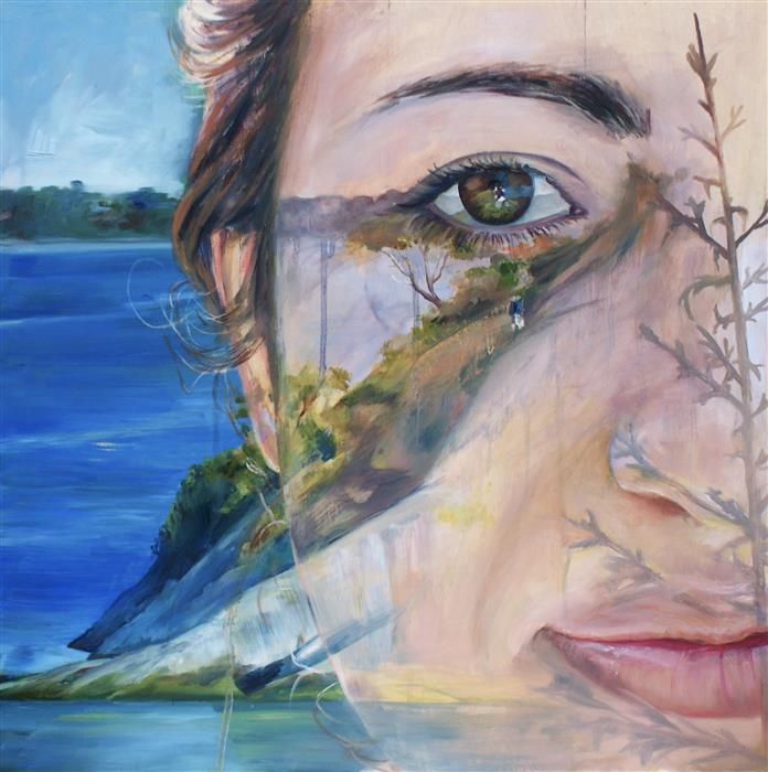 Original art for sale at UGallery.com | Self-Portrait in Memory by ABIGAIL DRAPKIN | $1,175 |  | 18' h x 18' w | ..\art\oil-painting-Self-Portrait-in-Memory