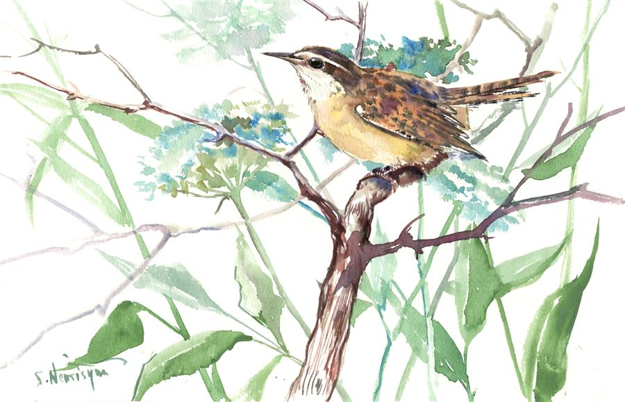 Original art for sale at UGallery.com | Carolina Warbler  (Horizontal) by Suren Nersisyan | $300 | watercolor painting | 9' h x 14' w | ..\art\watercolor-painting-Carolina-Warbler-Horizontal