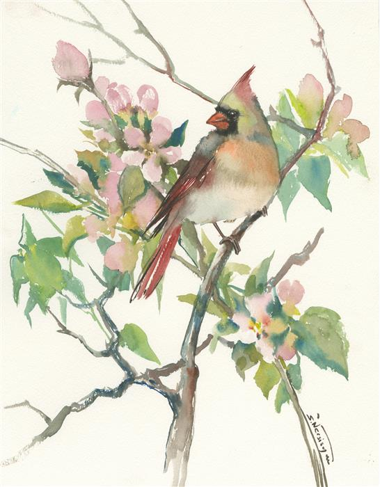 Original art for sale at UGallery.com | Cardinal and Apple Tree Blossom by SUREN NERSISYAN | $400 |  | 15.5' h x 12' w | ..\art\watercolor-painting-Cardinal-and-Apple-Tree-Blossom