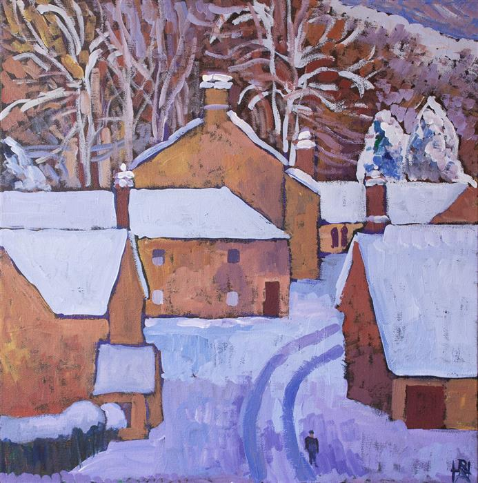 Original art for sale at UGallery.com | Quiet Village by ROBERT HOFHERR | $625 |  | 20' h x 20' w | ..\art\acrylic-painting-Quiet-Village