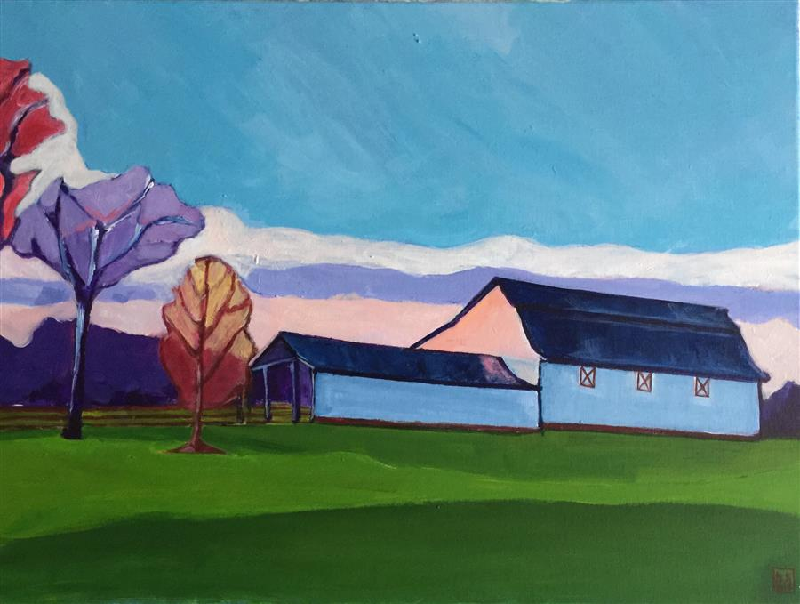 Original art for sale at UGallery.com | Barns at Hillsborough by LAURA (YI ZHEN) CHEN | $775 |  | 18' h x 24' w | ..\art\acrylic-painting-Barns-at-Hillsborough