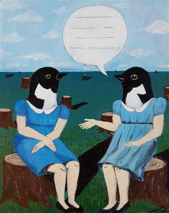 Original art for sale at UGallery.com | Topic of Conversation by KAT SILVER | $775 |  | 20' h x 16' w | ..\art\acrylic-painting-Topic-of-Conversation