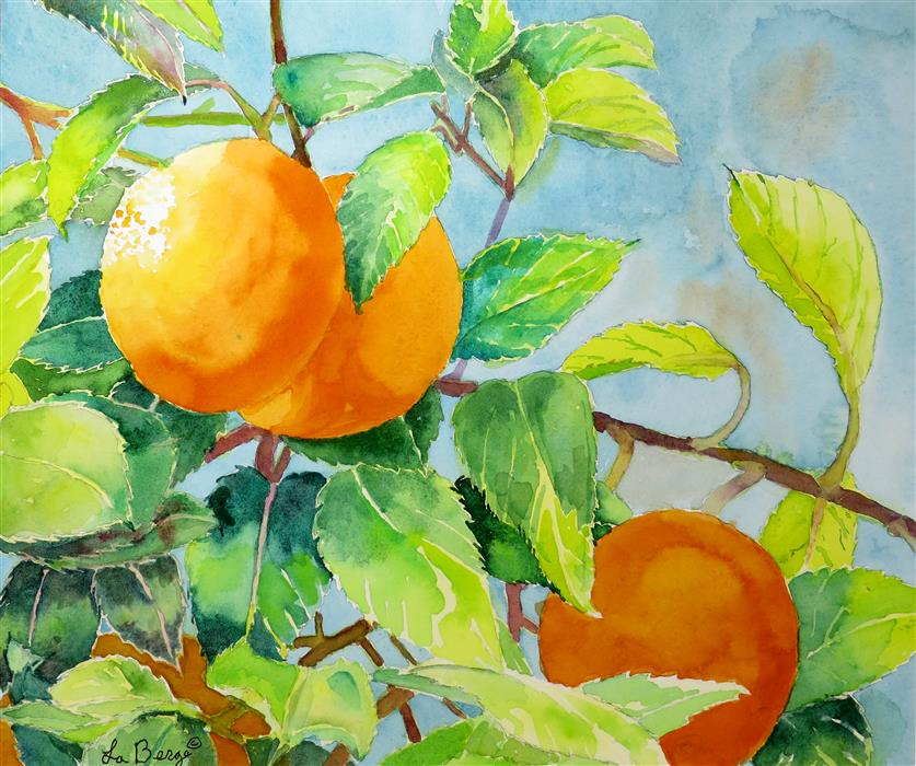 Original art for sale at UGallery.com | Oranges and Greens by NANCY MUREN | $375 |  | 11' h x 14' w | ..\art\watercolor-painting-Oranges-and-Greens