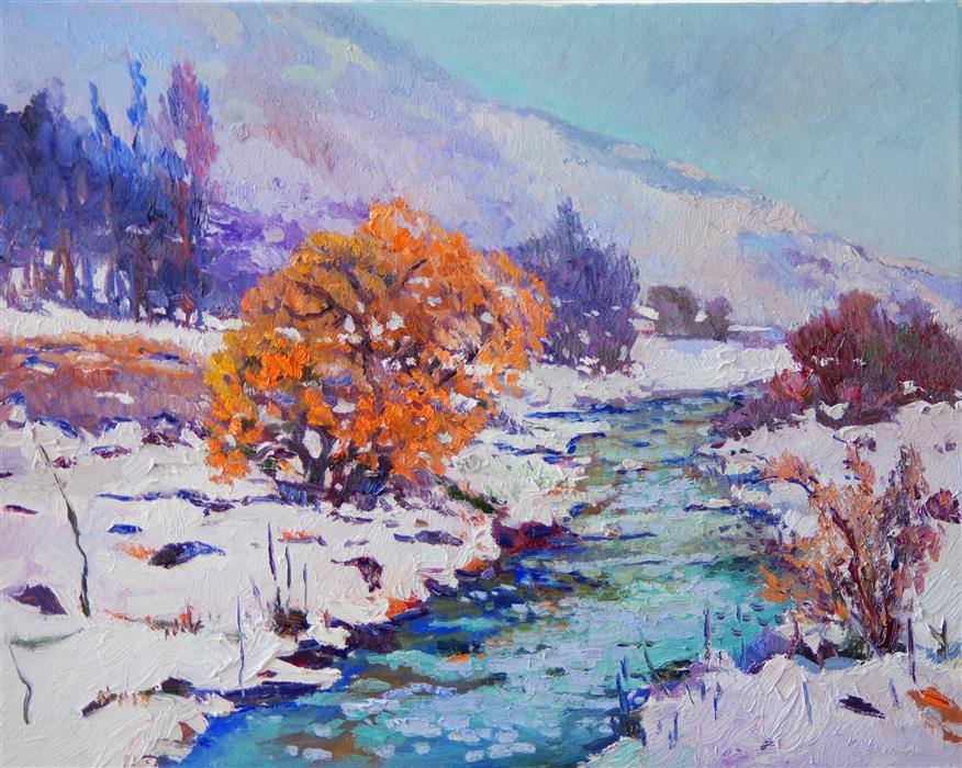 Original art for sale at UGallery.com | Winter Landscape with Orange Tree by Suren Nersisyan | $600 | oil painting | 16' h x 20' w | ..\art\oil-painting-Winter-Landscape-with-Orange-Tree