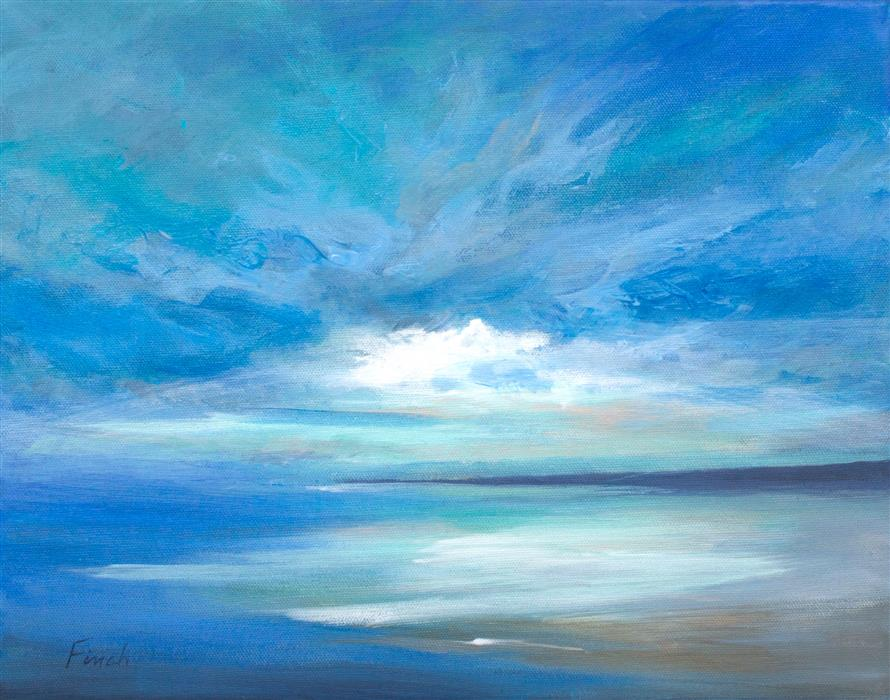 Original art for sale at UGallery.com | Surfers Beach by Sheila Finch | $900 | acrylic painting | 11' h x 14' w | ..\art\acrylic-painting-Surfers-Beach