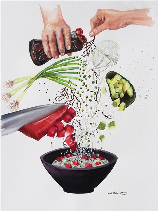 Original art for sale at UGallery.com | How to Make a Poke Bowl by JJ GALLOWAY | $675 |  | 24' h x 18' w | ..\art\watercolor-painting-How-to-Make-a-Poke-Bowl