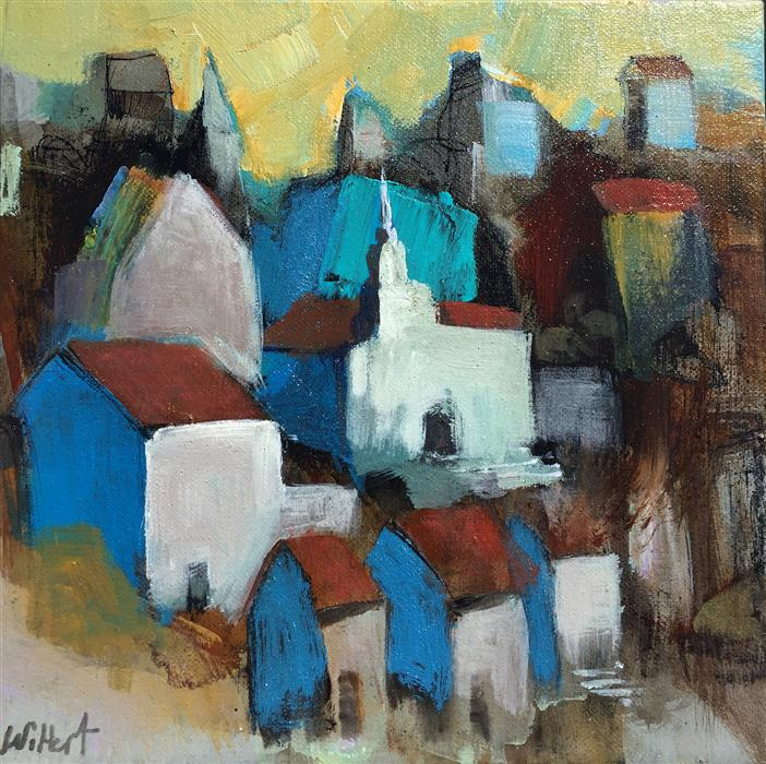 Original art for sale at UGallery.com | Village by ALLEN WITTERT | $500 | Acrylic painting | 10' h x 10' w | ..\art\acrylic-painting-Village