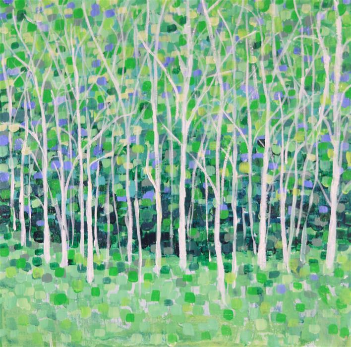 Original art for sale at UGallery.com | Tree Line by TAMARA GONDA | $300 |  | 12' h x 12' w | ..\art\acrylic-painting-Tree-Line
