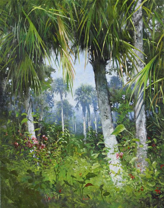 Original art for sale at UGallery.com | Florida Palms by KENT SULLIVAN | $1,300 |  | 20' h x 16' w | ..\art\oil-painting-Florida-Palms