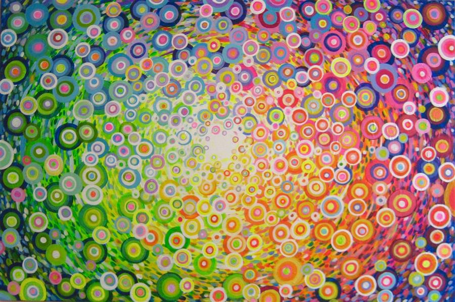 Original art for sale at UGallery.com | In Circles by NATASHA TAYLES | $1,050 |  | 24' h x 36' w | ..\art\acrylic-painting-In-Circles